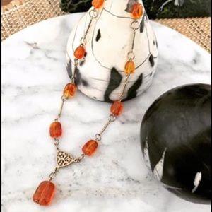 Vintage amber colour necklace
